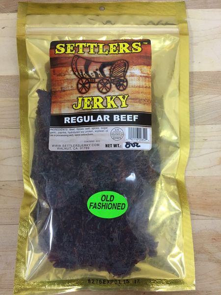 An old fashion styled beef jerky in a gold pack