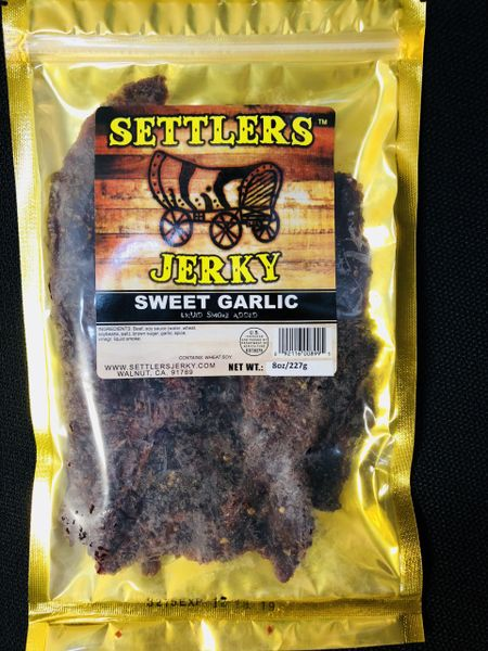 A sweet garlic flavored jerky